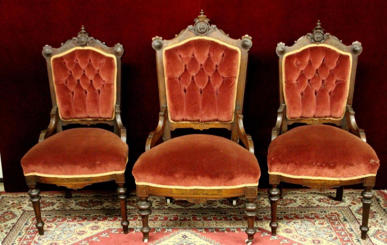 Parlor Chairs  Carved Crests Velvet Material Three