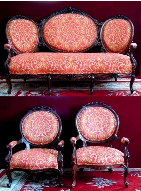 Rocco Revival Settee Gentleman Ladies Chairs Brand New Brocade Red and Gold
