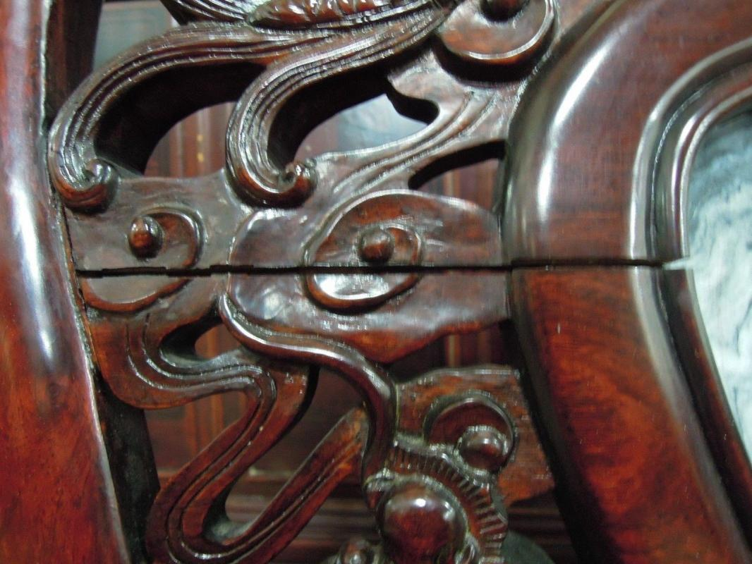 Asian Dragon Arm Chair  Inlaid  Medallion Stone Ornate  Mahogany