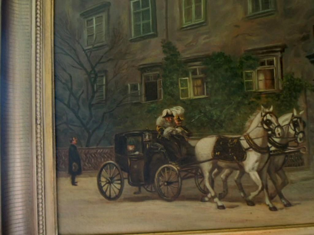 Antique Oil Painting Kaiser Franz Joseph 1 Horse And Buggy