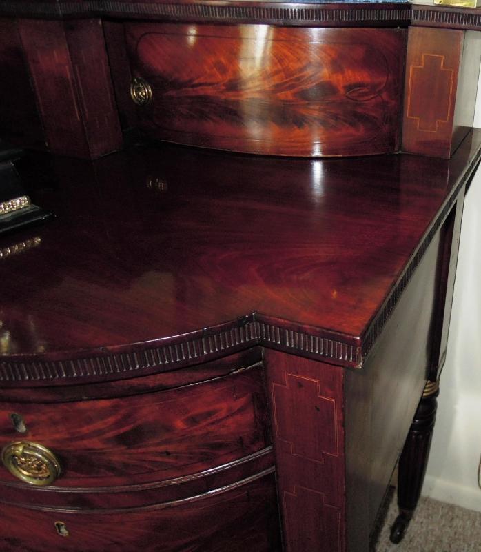 Antique Regency Sideboard  Mahogany Burl Brass Rails Rare to Find
