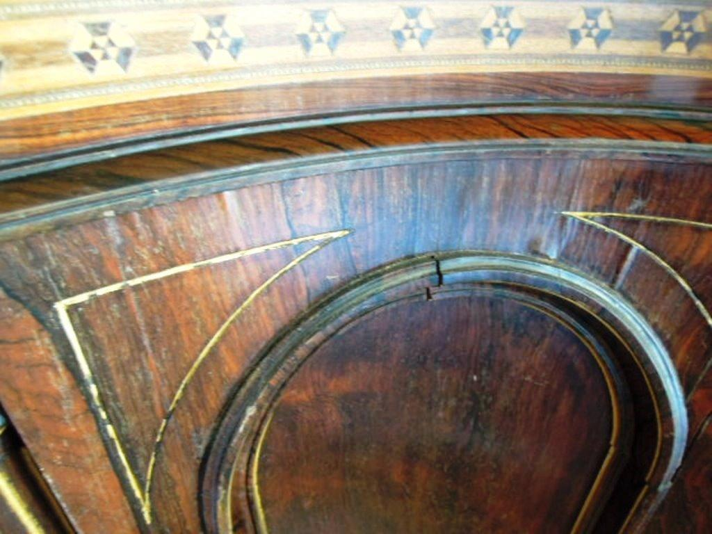 French Renaissance Revival Credenza Inlaid Carved Floral Designs