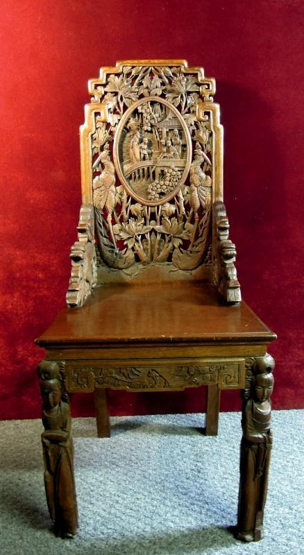 Antique Carved Foo Dogs Chair intricate Asian Theme Wood