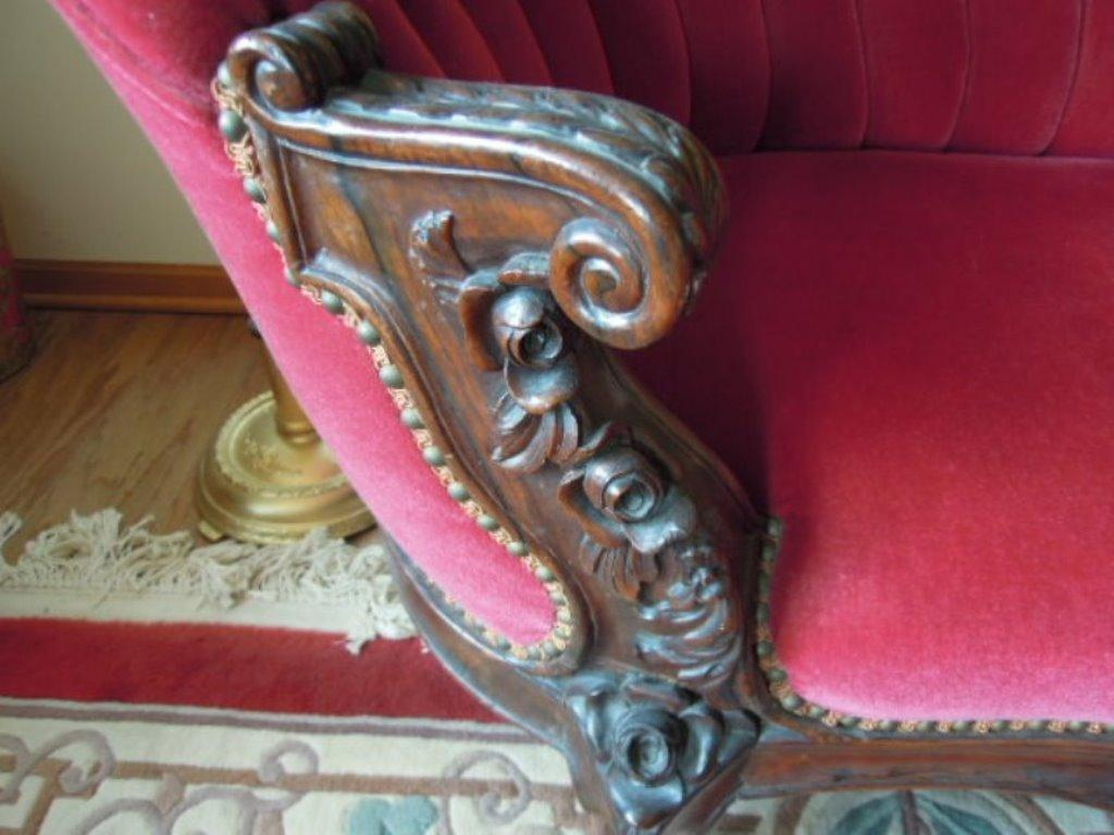 Antique Rosewood Renaissance Revival Settee Tufted Back Carved