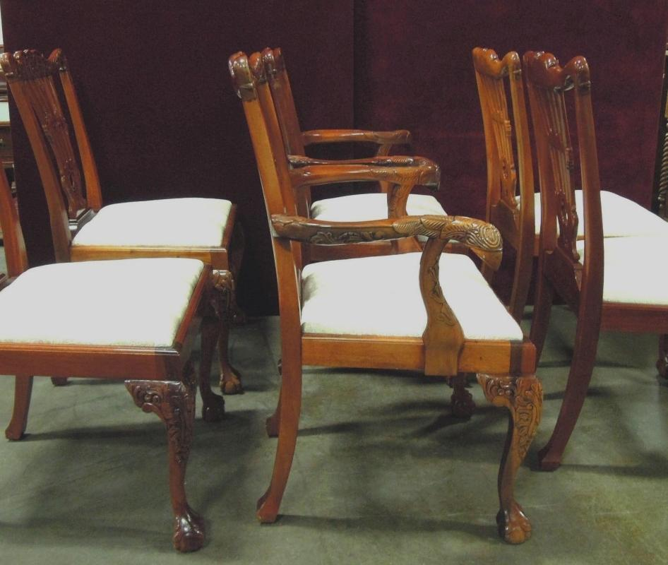 Chippendale Style  Dining Chairs  Eagle Carved Scrolls Floral  Motif  Master  Side Six