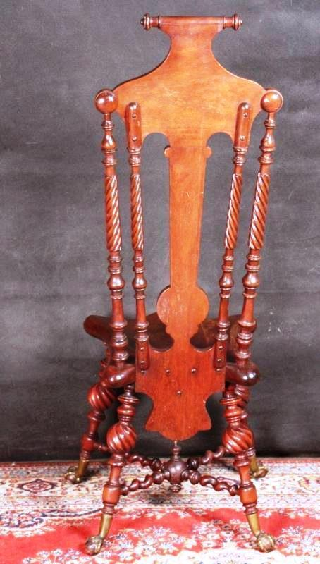 Victorian Twisted Chair Claw Ball Feet  Wood Fleur-de-lis Motif