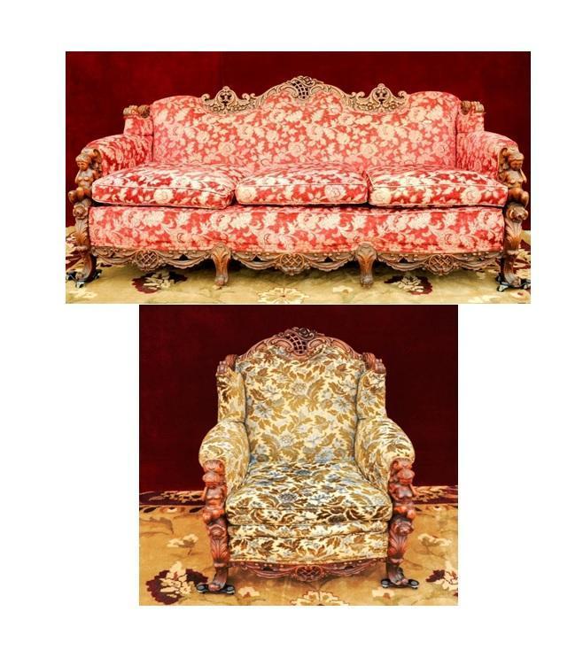Gimbels Figural Sofa Chair Head Carved  Rare