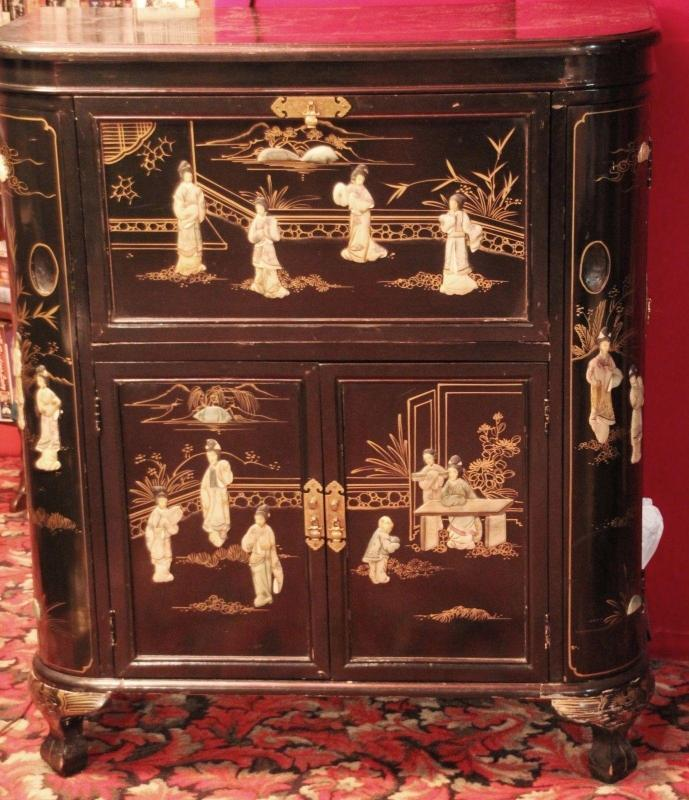 Asian Bar Server Cabinet Inlaid Mother Of Pearl Beautiful Themes Mirror