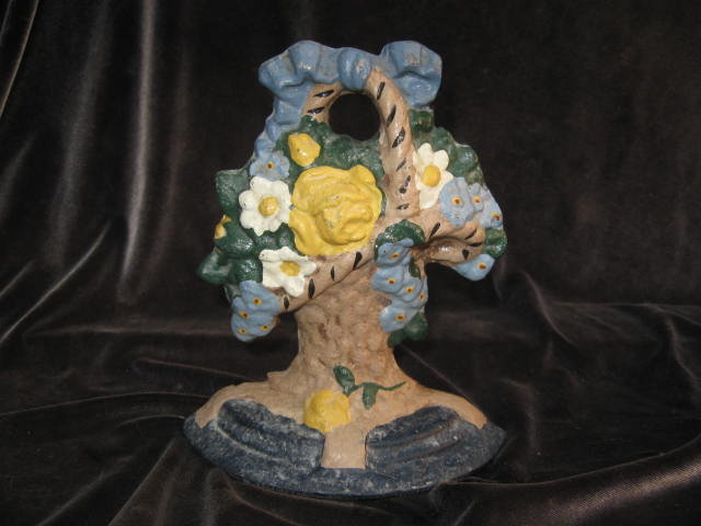 Cast Iron Flower Basket Doorstop Door Stop