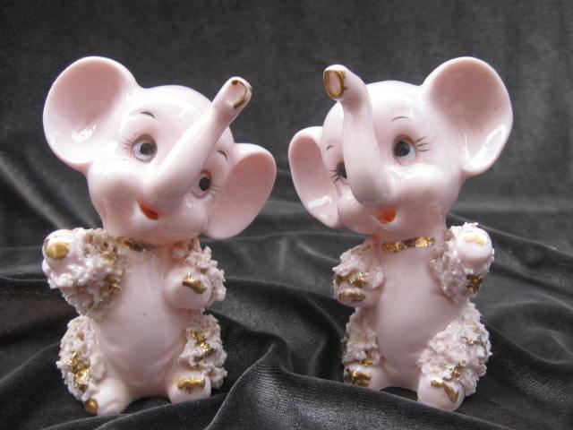 Vintage Pink Elephants  Anthropomorphic  Salt I Pepper Shakers