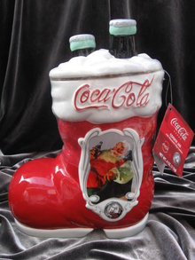 Coca Cola 75th Anniversary Santa's Boot & Coke Christmas Cookie Jar