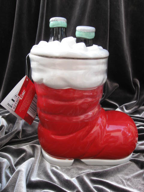 Coca Cola 75th Anniversary Santa's Boot & Coke Christmas Cookie Jar