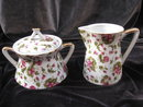 Porcelain Chintz Floral Sugar & Creamer Cream  Set