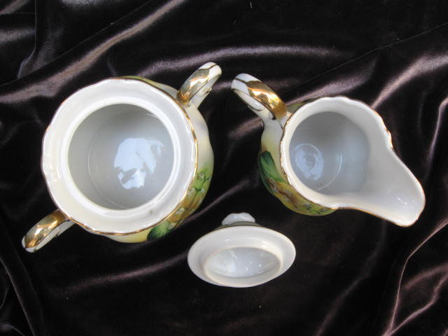 Porcelain  Norcrest Liily Of The Valley Sugar & Creamer Handpainted Set
