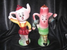 Vintage Anthropomorphic Teapot & Coffee Pot Slat & Pepper Shakers