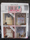 New   Vintage McCall's 5183 Home Dec In a Sec Window Curtains Swag Jabot  Valance Sewing Pattern