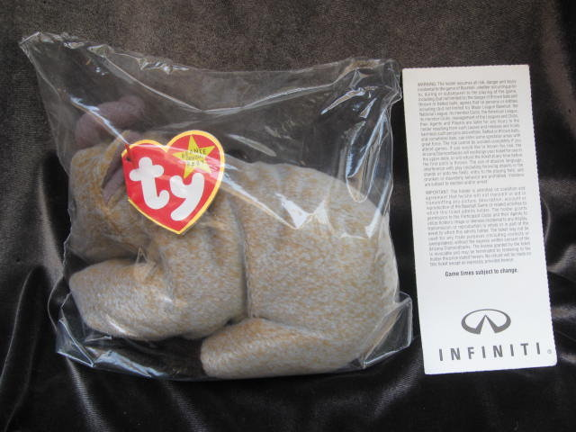 Ty Goatee Beanie Baby With Baseball Randy  Johnson  With Game Ticket Beanie Baby