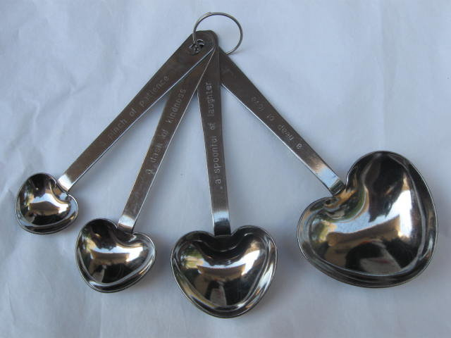 Kate Aspen Heart Shaped  Stainless Steel Measuring Spoons