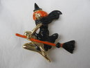 Pretty Flying Witch On Broom With Orange Hair Brooch Pin