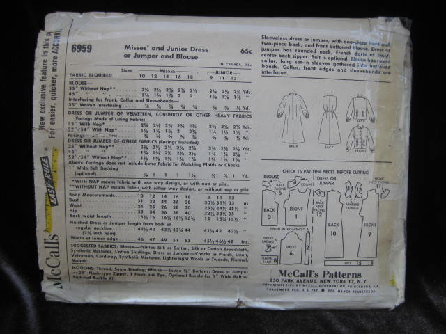 Vintage McCall's 6959 Misses'  Dress Or Jumper & Blouse Sewing Pattern Size 14  1960's