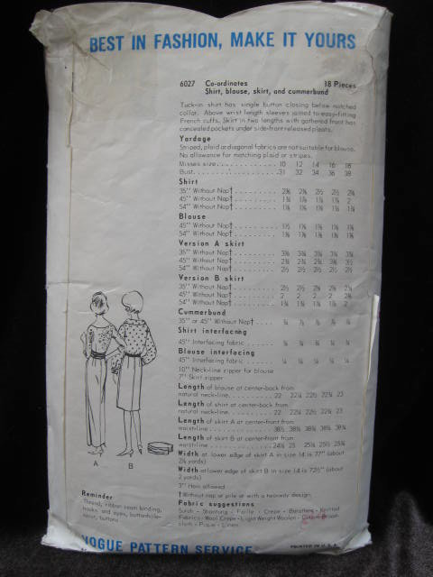 Vintage Vogue 6027 Misses' Shirt, Blouse, Skirt & Cummerbund Sewing Pattern Size 12 1960's