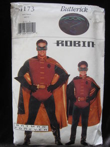 New Butterick 4173 Men's  Batman Forever Robin  Halloween Costume Sewing Pattern
