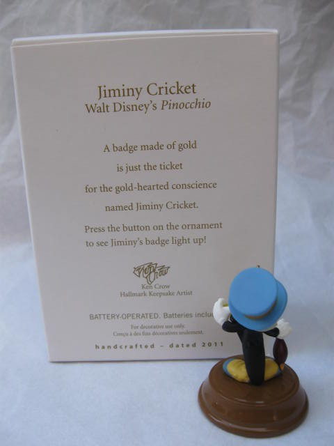 Hallmark 2011 Jiminy Cricket Walt Disney Pinocchio Christmas Tree Ornament    Magic Light