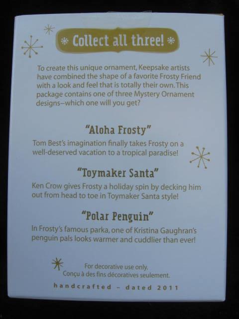 Hallmark 2011  Aloha Frosty   & Toymaker Santa Mystery Ornaments