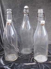 3 Vintage Glass Bottles With Ceramic Stoppers