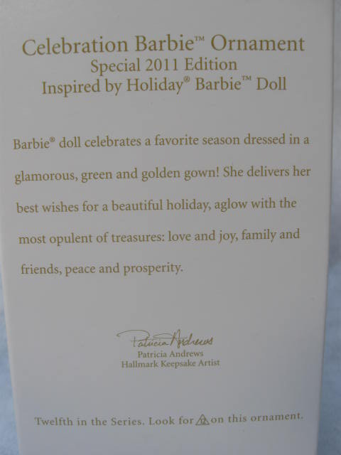 Hallmark 2011 Celebration Barbie 12th In Holiday Barbie Series Christmas Tree Ornament
