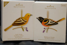Hallmark 2011 Baltimore Oriole & Lady Oriole  Limited Edition Beauty Of The  Birds Christmas Tree Ornaments