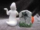 Fitz & Floyd Halloween Ghost & Jack O Lantern Tombstone  Salt & Pepper Shakers  In Original Box