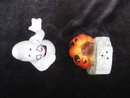 Fitz & Floyd Halloween Ghost & Jack O Lantern Tombstone  Salt & Pepper Shakers  In Original Box