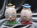 Vintage Egg  Man & Woman Sequin Eyes  Anthropomorphic  Salt & Pepper Shakers