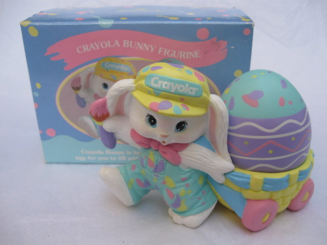 Hallmark 1990  Crayola Bunny Easter  Figurine With Easter Egg