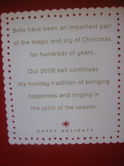 Hallmark 2008 White  Porcelain  Bell With Christmas Tree Design