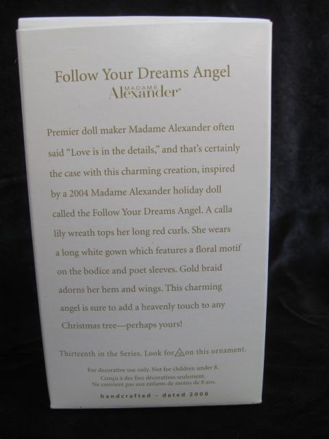 Hallmark 2008 Follow Your Dreams Madame Alexander Angel 13th In Series Christmas Tree Ornament
