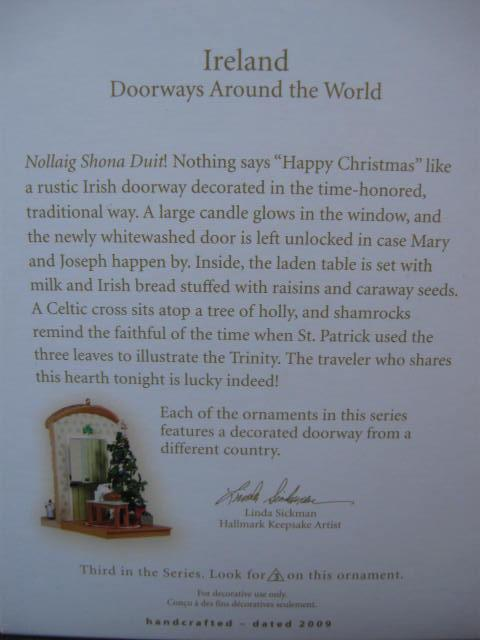 Hallmark 2009 Ireland Doorways Around The World #3 Christmas Tree Ornament