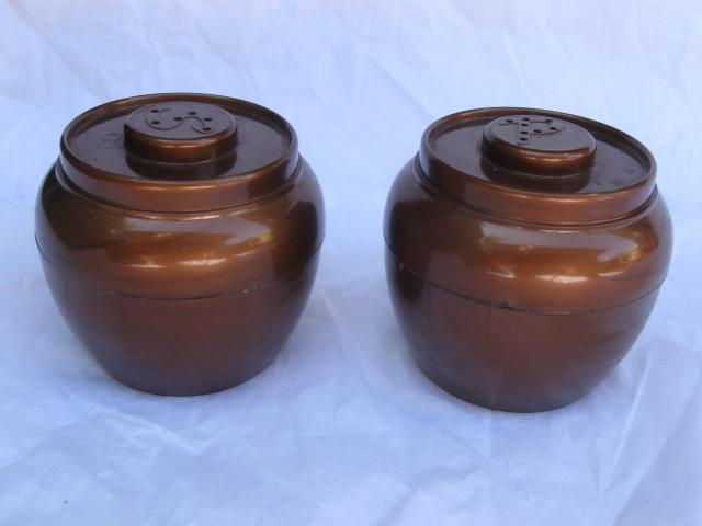 Vintage Admiration  Lusterware Copper Colored Salt & Pepper Shakers