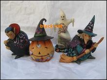 Lot Of 4 Jim Shore Mini  Halloween Figurines - Witch Ghost Vampire Jack O Lantern Figurine