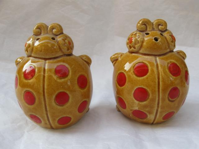 Vintage Ladybug Salt & Pepper Shakers