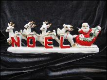 Vintage Santa With Reindeer Relco Noel Candle Holder