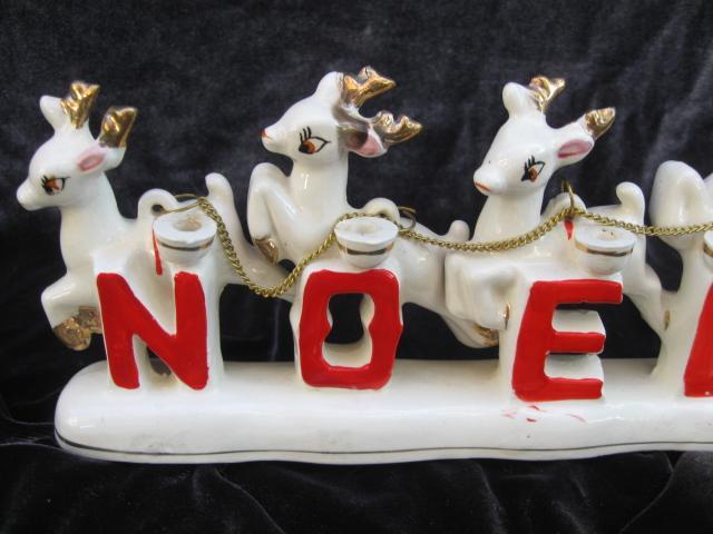 Vintage Santa With Reindeer Relco Noel Candle Holder