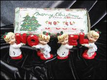 Vintage Napco  Pajama Children  NOEL Candle Holders In Original Box