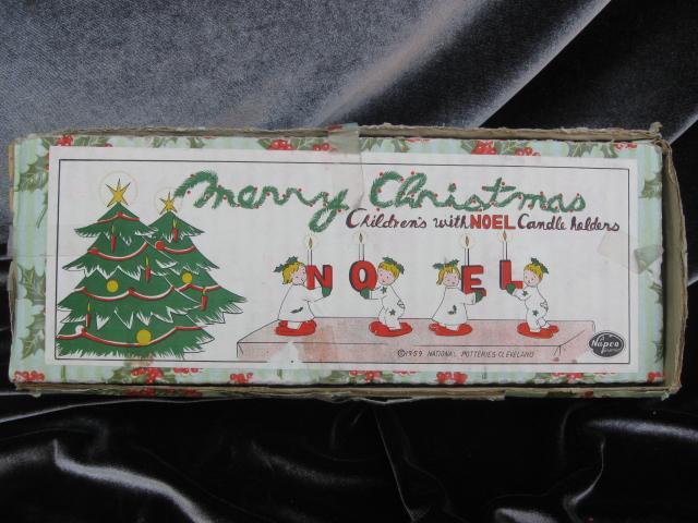 Vintage Napco  Pajama Children  NOEL Candle Holders In Original Box