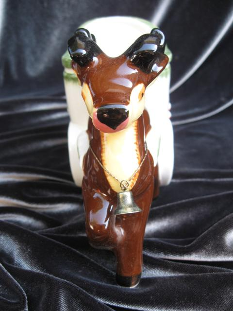 Vintage Reindeer & Sleigh Napco Christmas Planter or Candy Container