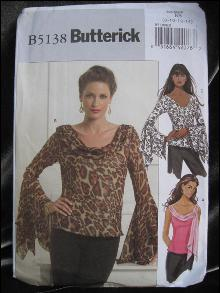Butterick B5138 Butterick B 5138 Sexy Bias Misses'  Top With Unique Sleeves or Sleeveless Sewing Pattern