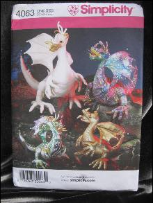 Simplicity Crafts  4063 Fantasy  Renaissance  Stuffed Dragon Sewing Pattern OOP