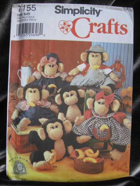 Simplicity Crafts 7155 Stuffed Monkey & Clothes Sewing Pattern