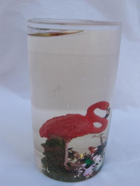 Pink Flamingo Waterglobe Water Globe Pen or Pencil Holder